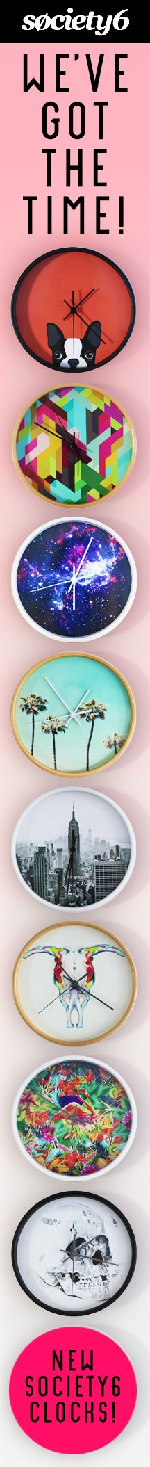 "Make Time For Art with Society6 Wall Clocks! Browse hundreds of thousands of designs by artists from around the world on three styles of 12"" wall clocks!"