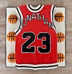 Basketball jersey sculpted cake