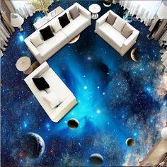 Blue Gorgeous Galaxy Print Home Decorative Waterproof Splicing Floor Murals - Work-toptrendpin. 3d Floor Art, 3d Floor Painting, Ceiling Murals, Floor Murals, Clouds Pattern, Wave Pattern, 3d Flooring, Bathroom Flooring, Floor Wallpaper