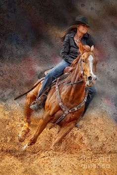 A cowgirl riding a horse in a barrel racing event at a rodeo. Cowboy Girl, Cowgirl And Horse, Cowboy And Cowgirl, Horse Love, Horse Riding, Western Riding, Western Art, Foto Cowgirl, Westerns