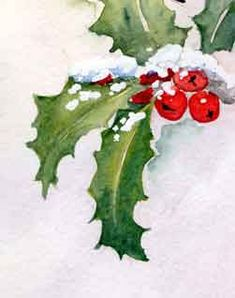 Classes in drawing and painting for all levels. Watercolor Christmas Cards, Christmas Card Crafts, Christmas Cards To Make, Watercolor Cards, Christmas Pictures, Xmas Cards, Christmas Art, Watercolor Flowers, Leaf Drawing