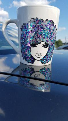 custom mugs FroMugs-Coffee Mugs-Art Mugs- Afro Art- Natural Hair Mug- Coffee Gifts Cute Coffee Mugs, Coffee Gifts, Coffee Art, Customised Mugs, Custom Mugs, Arte Black, Marble Mugs, Mug Crafts, Wedding Wine Glasses