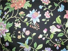 P Kaufmann Cloisonne Midnight, Home Decor Fabric,P K Floral Fabric Black, P/K Fabrics