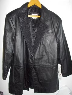 Womens black leather jacket size 18