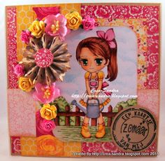 Crea-Sandra Color Card, Hand Coloring, Disney Characters, Fictional Characters, Paper Crafts, Disney Princess, Create, Projects, Cards