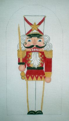 Beautifully Hand Painted Needlepoint Canvas Red and White Nutcracker with Sword on Zwiegart canvas by Mary Tussey. Beautifully Handpainted Rose Heart Needlepoint canvas on Cross Stitch Tree, Cross Stitch Charts, Cross Stitch Designs, Cross Stitch Patterns, Needlepoint Designs, Needlepoint Kits, Needlepoint Canvases, Needlepoint Stitches, Christmas Stocking Pattern