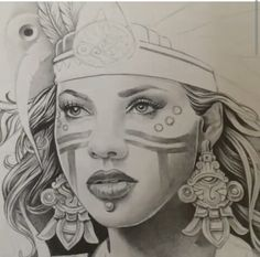 AZTEC PRINCESS Chicano Drawings, Art Drawings, Drawing Faces, Tattoo Studio, Aztec Drawing, Aztec Tattoo Designs, Aztec Culture, Lowrider Art, Aztec Art