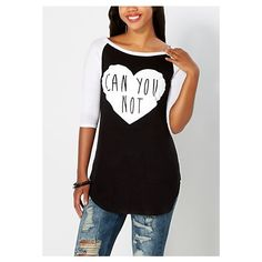 Can You Not Baseball Tee ❤ liked on Polyvore featuring tops, t-shirts, baseball style tees, baseball shirts, baseball tee shirt, baseball t shirt and baseball tee