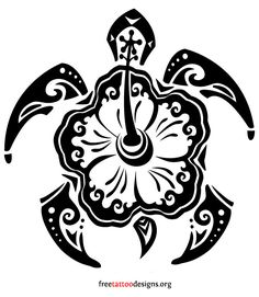 Turtle Hibiscus Tattoo | Turtle Tattoos | Polynesian and Hawaiian Tribal Turtle Designs