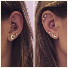 """I've officially had a needle stabbed into my body 20 times for fun. Welcome the daith to my piercing collection! #rook #conch #daith #tragus #triplelobe…"""