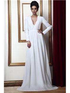 Elegant Long-Sleeves V-Neckline Floor-Length Taline's Mother of Bride Dress  Plus Size Mother Dresses - ericdress.com 9687375