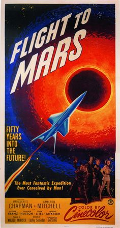 vintage movie poster: flight to mars 1951