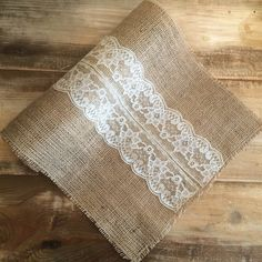 Burlap & Lace Table Runner-Cream Lace Detail-3 by theartsyhippie