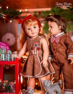 Gingerbread Girl and Boy modeled beautifully on American Girl dolls, outfits made using the Lollipop Garden Dress Doll Clothes Pattern and Drop Seat Jammies by Forever 18 Inches. Sewing Doll Clothes, Girl Doll Clothes, Doll Clothes Patterns, Clothing Patterns, Girl Dolls, Clothing Ideas, Ag Dolls, Doll Patterns, Clothing Stores