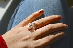 3-Dimensional Geometric Rings. $60.00, via Etsy.