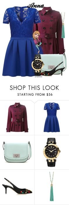 """""""Anna"""" by amarie104 ❤ liked on Polyvore featuring Burberry, Disney, Yumi, Kate Spade, Versace, Dolce&Gabbana and Elizabeth Raine"""