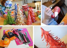 paper holiday trees tutorial. soo cute #craft #christmas