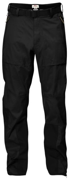 Technical three-layer shell trousers in Eco-Shell. Well-thought-through fit, long waterproof zippers at the sides, hand pockets and belt at the waist. •Wind and waterproof three-layer trousers for yea