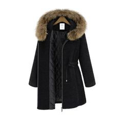 Black Fur Trim Hood Drawstring Waist Wool Coat ($70) ❤ liked on Polyvore featuring outerwear, coats, casacos, jackets, hooded wool coat, wool coat, woolen coat and hooded coat