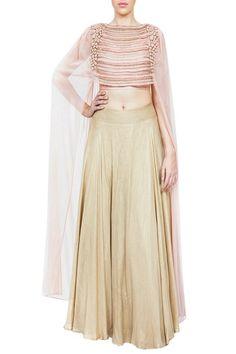 Blush pink embroidered cape blouse with gold foil lehenga Abaya Fashion, Indian Fashion, Fashion Dresses, Style Fashion, Choli Designs, Saree Blouse Designs, Indian Dresses, Indian Outfits, Gold Lehenga