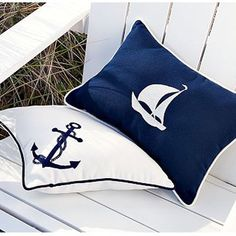 Nautical blue and white outdoor pillows. Nautical Bedroom, Nautical Pillows, Nautical Home, Nautical Anchor, Vintage Nautical, Nautical Style, Coastal Style, Coastal Decor, Coastal Homes