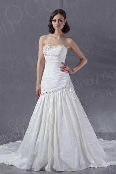 Modern A Line Strapless Dropped Waist Chapel Train Satin Wedding Dress CWLT13008 $298.93 wedding dress, wedding dress, wedding dress, wedding dress, wedding dress