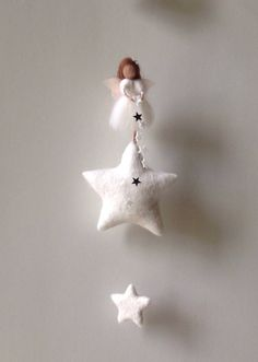 Felted star fairy mobile