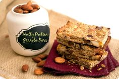 A Nutty Protein Granola Bar recipe. A good breakfast, snack, and could also be used instead of other sugary desserts. Lots of flavor, and easy to make. The perfect healthy alternative to your sweet tooth! Healthy Protein Bars, Healthy Granola Bars, High Protein Recipes, Healthy Snacks, Snack Recipes, Whey Protein, Free Recipes, Homemade Protein Powder, Nutritious Breakfast