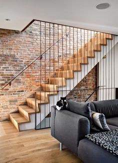 modern wood and steel stairs