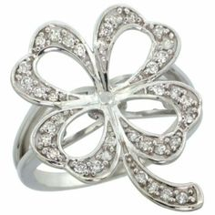 14k White Gold Clover Shamrock Diamond Ring