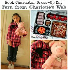 Keeley McGuire: {Charlotte's Web} Book Character Dress-Up Day + School Lunch! Story Book Costumes, World Book Day Costumes, Book Character Costumes, Book Week Costume, Book Character Day, Character Dress Up, Character Ideas, Book Characters Dress Up, Storybook Characters