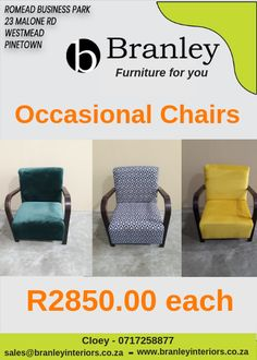 Brushed Velvet and Fabric Chairs available in store. Add a little color and modernise your living areas with these occasional chairs at each Furniture For You, Quality Furniture, Fabric Chairs, Lounge Suites, Wholesale Furniture, Occasional Chairs, Velvet, Interiors, Store