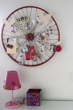 Bicycle wheel- love this to hold the mail! pretty sure I already have a spare bike rim!