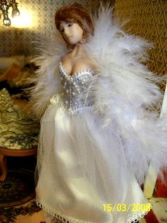 Wedding Gown for your doll to wear and accessories by Phoebesminis, $57.00