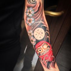 Daruma and cherry blossoms done today to work into an existing sleeve Vadim had…