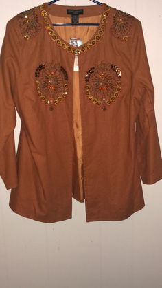 Anne Carson fall jacket size womens 16W sequins beads linen cotton ginger NWT #AnnCarson #BasicJacket