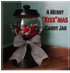 1. THE BASE - I used a 5 1/2 inch terra cotta pot, spray painted it with semi-gloss black - about four coats.  2. THE BOWL - bought a glass bowl from a dollar store.I bought two bags of kisses.I glued the bowl on to the upside down painted terra cotta pot with epoxy glue.  3. THE LID - I used a 5 1/2 inch terra cotta saucer. I spray painted the saucer with semi-gloss black. The  handle on the lid is a knob that I spray painted black, and glued on with epoxy glue.