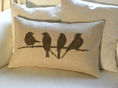 Birds on branch burlap pillow cushion cover by TheNestUK on Etsy. via Etsy. Burlap Pillows, Cute Pillows, Decorative Pillows, Throw Pillows, Owl Pillows, Cushion Covers, Pillow Covers, Contemporary Pillows, Bird Pillow