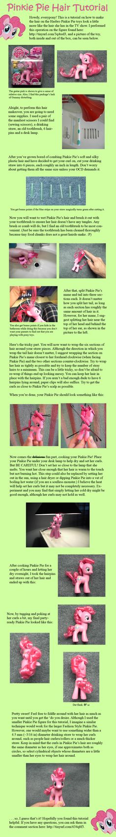 pinkie pie figurine hair tutorial