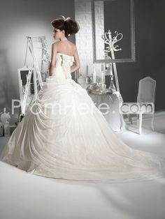 Gorgeous Ball Gown Sweetheart Floor-Length Flowers Chapel Wedding Dresses