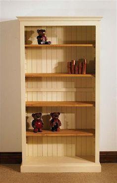 mottisfont painted 6ft x 3ft bookcase blue oak - Pine Bookshelves