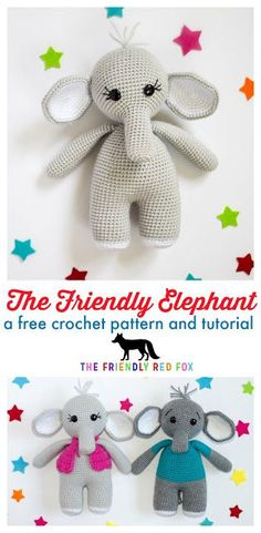 The Friendly Elephant With the sweet expressions and little fuzzy hairs (also check out the little tail!!) they are the cuddliest little elephant you ever did see. This crochet elephant is 10.5 inches tall and 5 inches wide with options to add a shirt or a vest to your amigurumi elephant!
