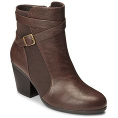A2 By Aerosoles Dk Brown Combo Invitation Boot - Women's ($65) ❤ liked on Polyvore featuring shoes, boots, ankle booties, dk brown combo, brown bootie boots, brown cuffed boots, brown ankle boots, brown bootie and cuffed ankle boots