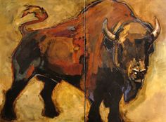 """Peggy Judy Bison Diptych Acrylic on Canvas 36"""" x 48"""""""