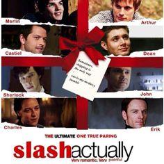 Slash Actually - Merlin/Arthur, Cas/Dean, Sherlock/John, Charles/Erik