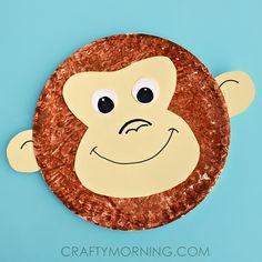 Paper Plate Monkey Kids Craft Idea - Crafty Morning - teach 'ey' spelling as in monkey