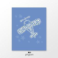 Airplane nursery printable  blue kids room decor digital by phylom