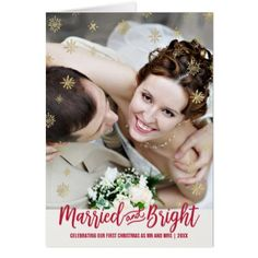 Gold Snowflake Married and Bright Christmas Photo Card - modern gifts cyo gift ideas personalize