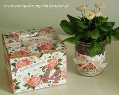 Stempelkrempel mit Papier : Geburtstagsgeschenke mit dem Designerpapier Geburtstagsstrauß Blumen im Weckglas und Wellness in der Box