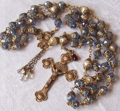 Vintage Rosary ~ 8mm Pale Blue Crystals & 8mm Genuine Cultured Pearls